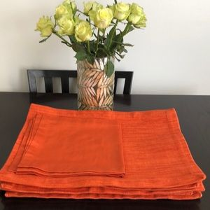 Crate&Barrel 8 Placemats/2 Napkins Tiger Lily
